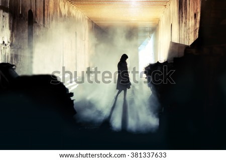 Mysterious Woman. Mystery Woman In Mist Silhouette - stock photo