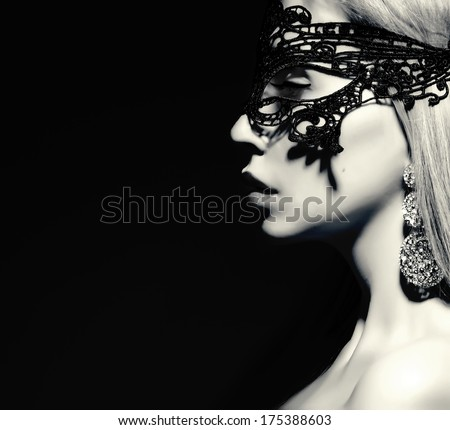 mysterious woman profile black and white - stock photo