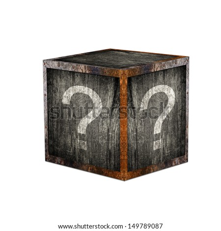 Mystery box with question marks. - stock photo