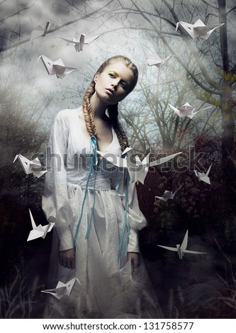 Mystery. Origami. Woman with White Paper Pigeon. Fairy Tale. Fantasy - stock photo