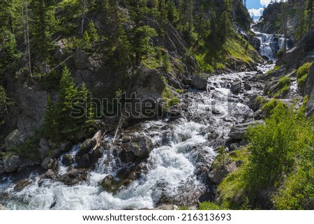 Mystic Falls Yellowstone National Park Summer Day - stock photo