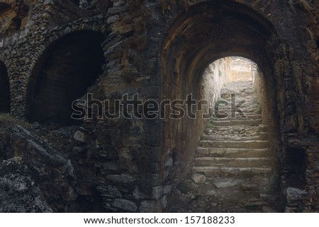 Mystic view of old stony ladder in the medieval castle - stock photo