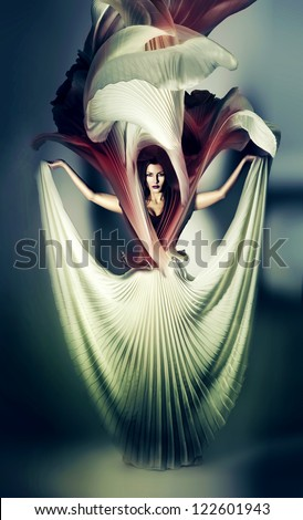 mystic woman in white flower dress - stock photo
