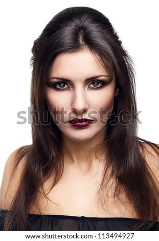 mystic woman on white background - stock photo