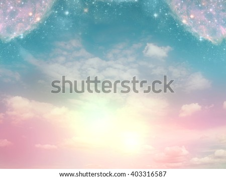 mystical background with divine light and magic stars - stock photo