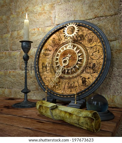 mystical concept still life with zodiac sighs and candle - stock photo