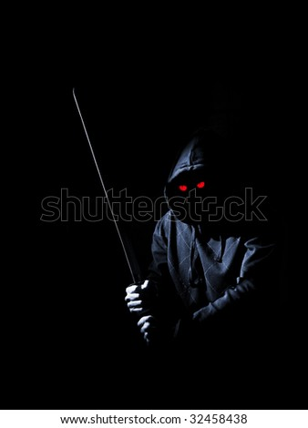 mystical creature with red eyes and sword - stock photo