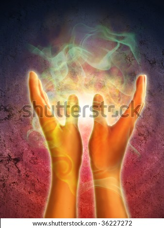 Mystical energy generating from open hands. Digital illustration. - stock photo