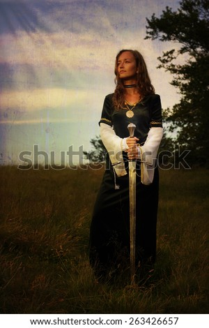 mystical medieval woman  standing  with a sword on a wild meadow with enchanting evening light - stock photo