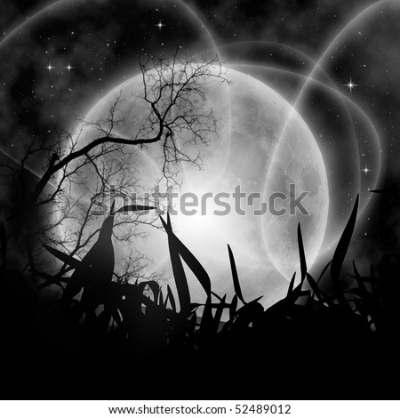 Mystical night with full moon - stock photo