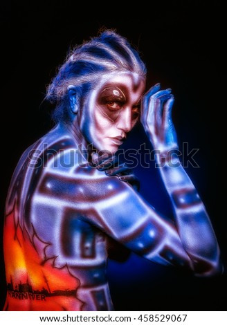 Mystical surreal alien woman. - stock photo