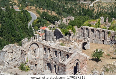 Mystras, an archaeological site close to Sparta, in the Laconia region of Greece - stock photo