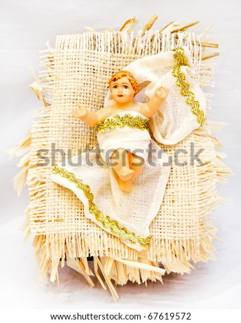 Mythical scene with birth of Jesus in a crib - stock photo