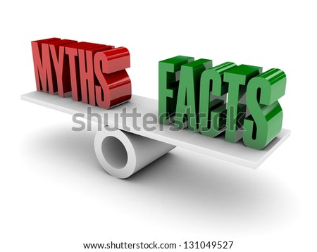 Myths and Facts opposition. Concept 3D illustration. - stock photo