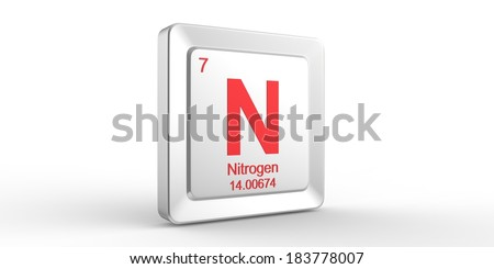 N symbol 7 material for Nitrogen chemical element of the periodic table  - stock photo