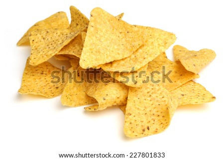 Nacho corn chips on white background - stock photo