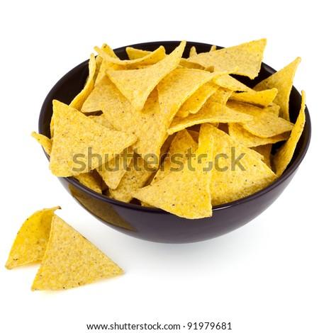 nachos chips in bowl - stock photo