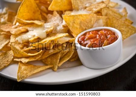 nachos with salsa - stock photo