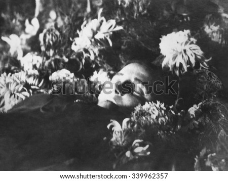 Nadezhda Alliluyeva, 2nd wife of Josef Stalin in her coffin, Nov. 9, 1932. The official cause of her death was appendicitis. In reality, the 31 year old died from a gunshot wound from a small pistol. - stock photo