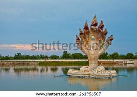 naga sculpture, fabulous serpent of south east asia - stock photo
