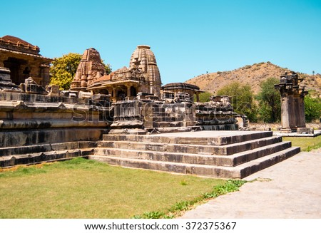 Nagda temple in the neighborhood of Udaipur, Rajasthan, India - stock photo