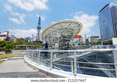 Nagoya, Japan city skyline with Nagoya Tower.  - stock photo