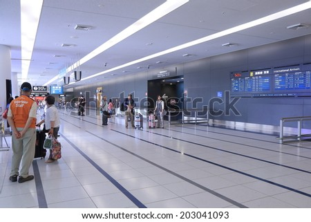 NAGOYA JAPAN - 31 MAY, 2014: Central Japan International Airport Centrair arrival hall. Central Japan airport is an airport on an artificial island in Ise Bay Aichi.  - stock photo