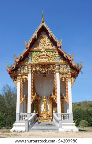 Naiharn Temple in Phuket, Thailand - travel and tourism. - stock photo