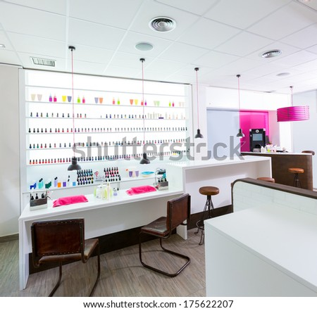 Nail and pedicure saloon modern with nail polish colorful in a row on white background - stock photo