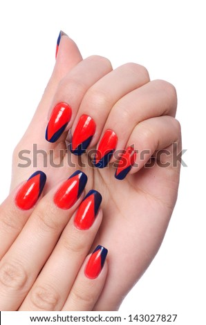 Nail art concept with hands on white - stock photo