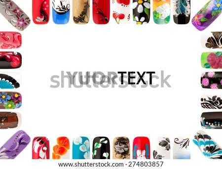 Nail art handmade. Colorful nails isolated  - stock photo