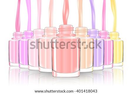 Nail polish bottle. nail bottle splash. pastel. 3d illustration - stock photo