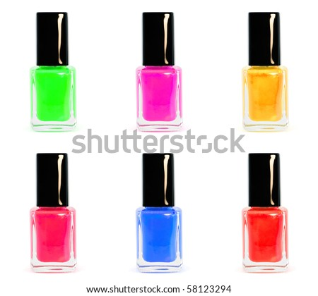 Nail polish collection of six different colors on white background - stock photo