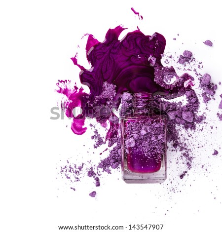 Nail polish with blots isolated on white background - stock photo