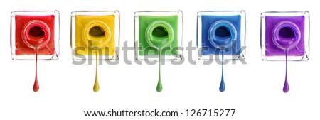 Nail polishes isolated on white - stock photo