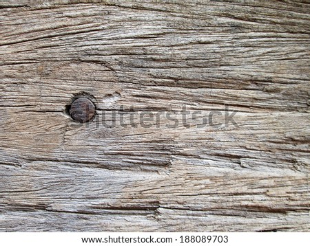 Nails on old wood brown - stock photo