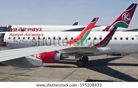 NAIROBI, KENYA - JANUARY 13: Kenya Airways aircraft on January 13, 2014 in Nairobi, Kenya. Kenya Airways in Kenya's national airline with a fleet of 47 aircraft in service. - stock photo