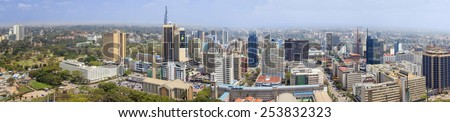 NAIROBI, KENYA-SEPTEMBER 17, 2014: An aerial 180 degree panorama of the downtown area of Nairobi, Kenya. - stock photo