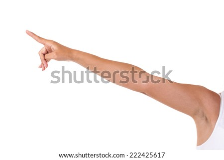 Naked arm pointing upwards - stock photo
