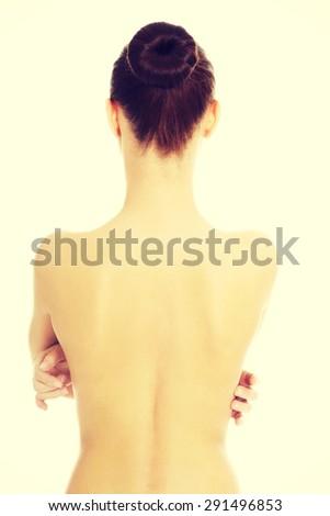 Naked beautiful woman's back - stock photo