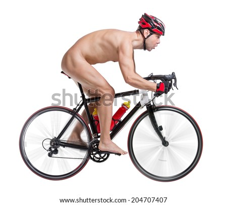 naked bicyclist riding a bicycle isolated on white background  - stock photo