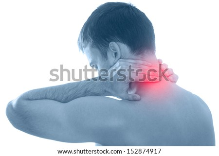 Naked  man behind holding hand to spot of back pain - stock photo