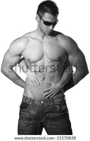 Naked man torso - stock photo