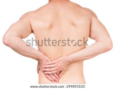 Naked man with lower back pain on white isolated background. Back view. - stock photo