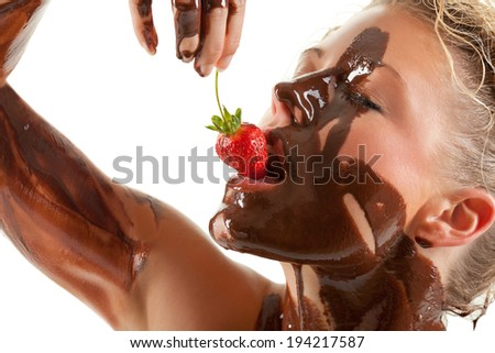 naked woman covered sweet cream chocolate - stock photo