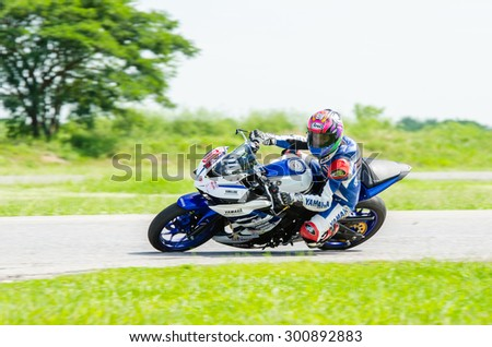 NAKHON PATHOM - JULY 25 : Peerapong R. with Yamaha R3 motorcycle in Thailand SuperBikes Championship 2015 Round 1 at Thailand Circuit, on July 25, 2015 in Nakhon Pathom, Thailand. - stock photo