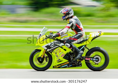 NAKHON PATHOM - JULY 25 : The official qualifying for the R2M in Thailand SuperBikes Championship 2015 Round 1 at Thailand Circuit, on July 25, 2015 in Nakhon Pathom, Thailand. - stock photo