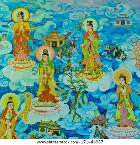 NAKHON PATHOM,THAILAND -FEBRUARY 23 : Traditional Chinese mural on temple wall at Wat Onoi on February 23, 2013 in Nakhon Pathom, Thailand. - stock photo
