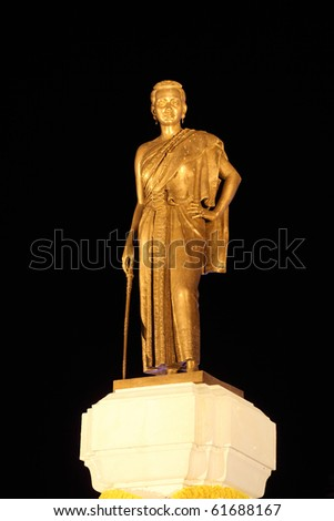 """Nakhon Ratchasima, Constructed in 1934.  """"Thao Suranaree"""" is calso alled """"Khun Ying Mo"""".  She was a wife of King Rama III. She managed to save the city from the invasion of the Laotian army. - stock photo"""