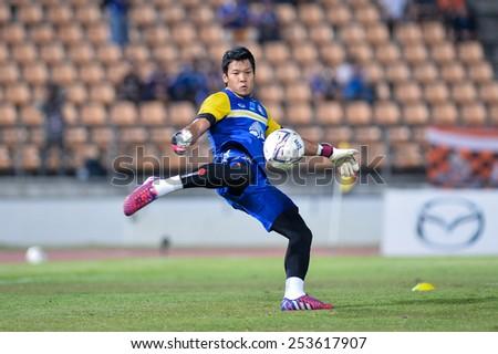 NAKHON RATCHASIMA THA-Feb07:Goalkeeper Kawin Thamsatchanan of Thailand during  the 43rd King's cup match between Thailand and Korea Rep at Nakhon Ratchasima stadium on February07,2015 in Thailand. - stock photo